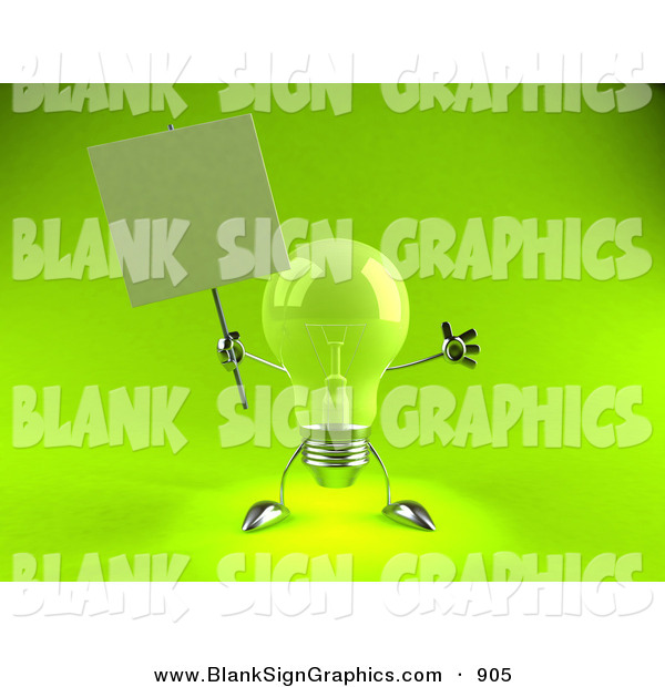 Vector Illustration of a Helpful Green Glass Light Bulb Character Holding a Blank Sign on a Post - Version 4