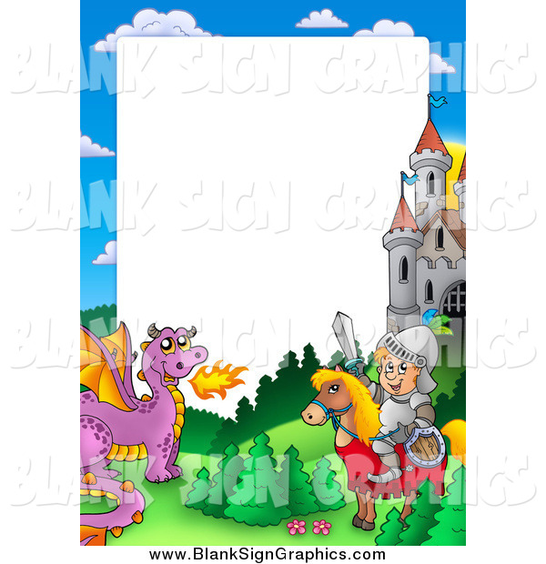 Vector Illustration of a Horseback Knight with a Dragon and Castle Border Around White Space