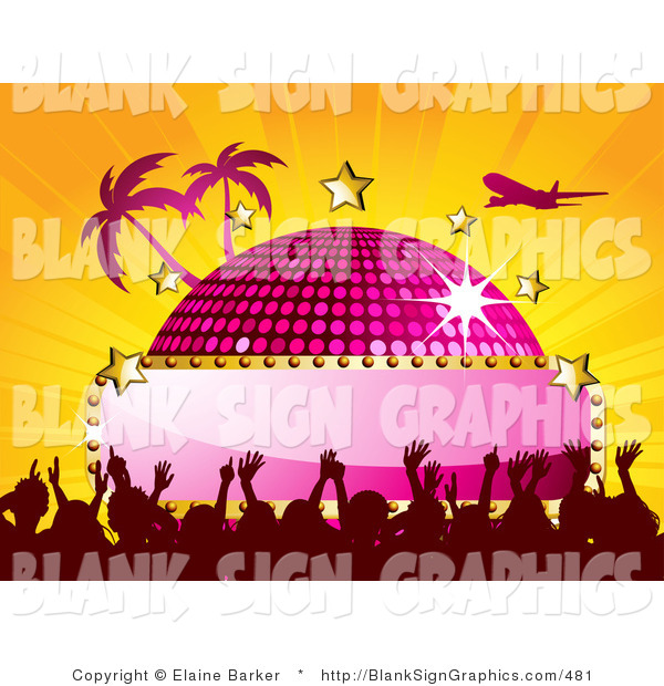 Vector Illustration of a Jet Flying over a Pink Disco Ball with a Blank Sign, Stars, Palm Trees and a Crowd, on a Bursting Orange Background