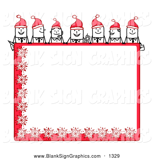 Vector Illustration of a Line of Stick People Characters Looking over a Blank Red Christmas Sign