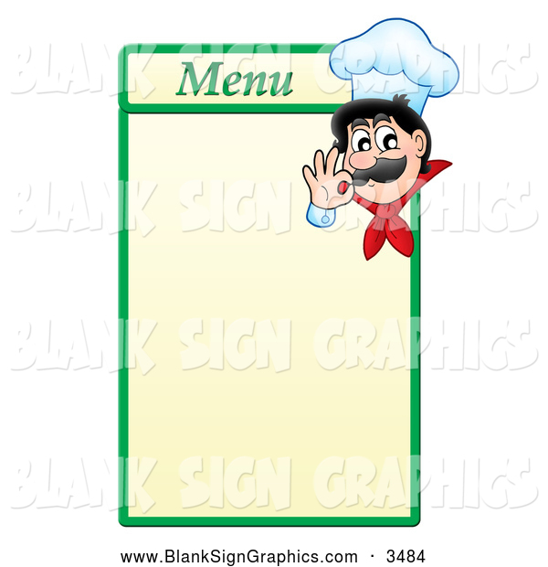 Vector Illustration of a Male Chef Gesturing Ok on a Menu Board