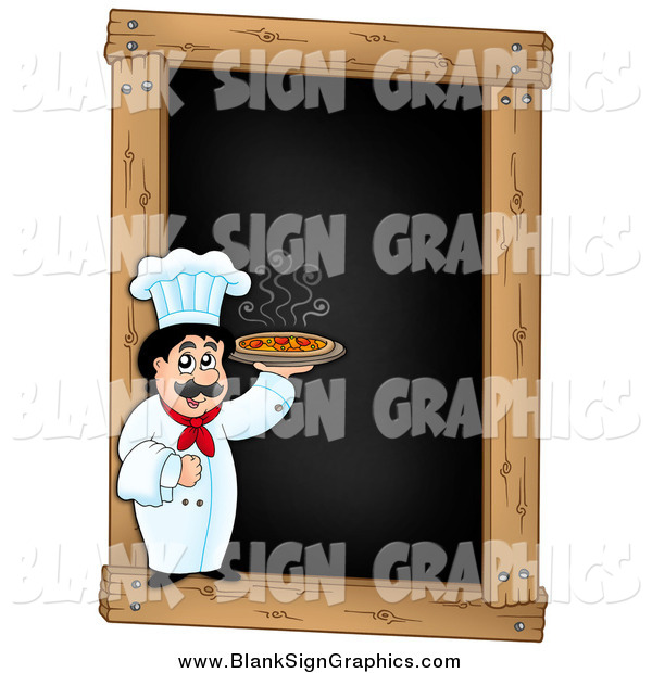 Vector Illustration of a Male Chef Holding a Pizza over a Blank Menu Chalk Board