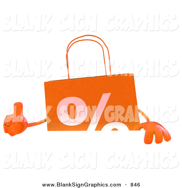 Vector Illustration of a Orange Shopping Bag Giving the Thumbs up and Standing Behind a Blank White Sign
