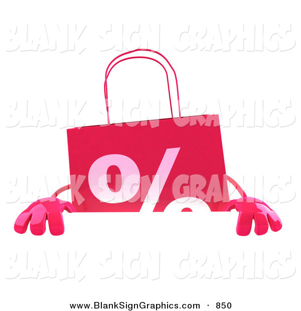 Vector Illustration of a Pink Shopping Bag Standing Behind and Holding up a Blank White Sign