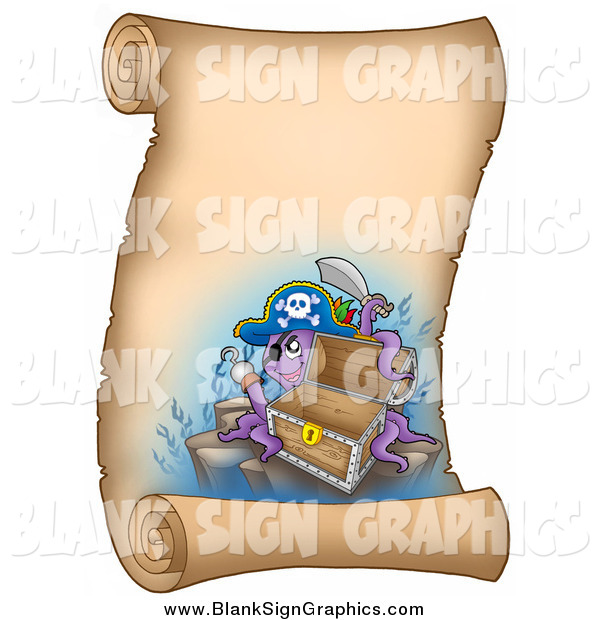 Vector Illustration of a Pirate Captain Octopus with an Empty Chest on a Vertical Parchment Page