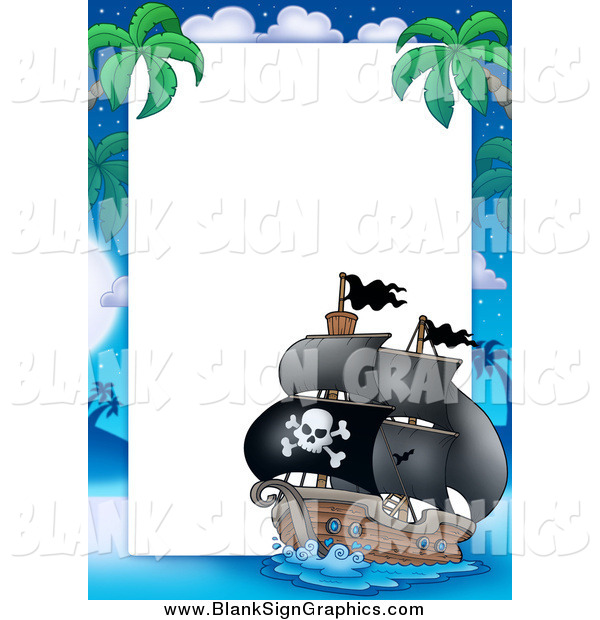 Vector Illustration of a Pirate Ship Border Sign