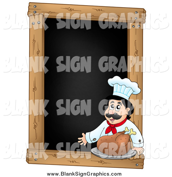 Vector Illustration of a Presenting Male Chef with a Roasted Turkey on a Blank Menu Chalk Board