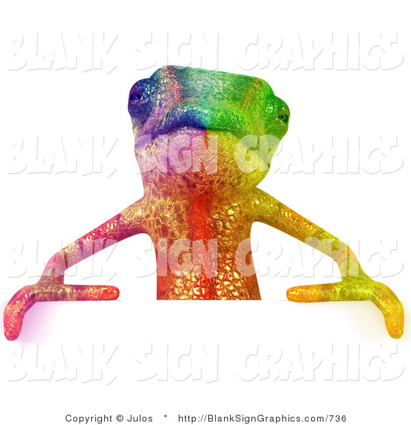 Vector Illustration of a Rainbow Chameleon Lizard Character Standing Behind a Blank Sign and Facing Forward