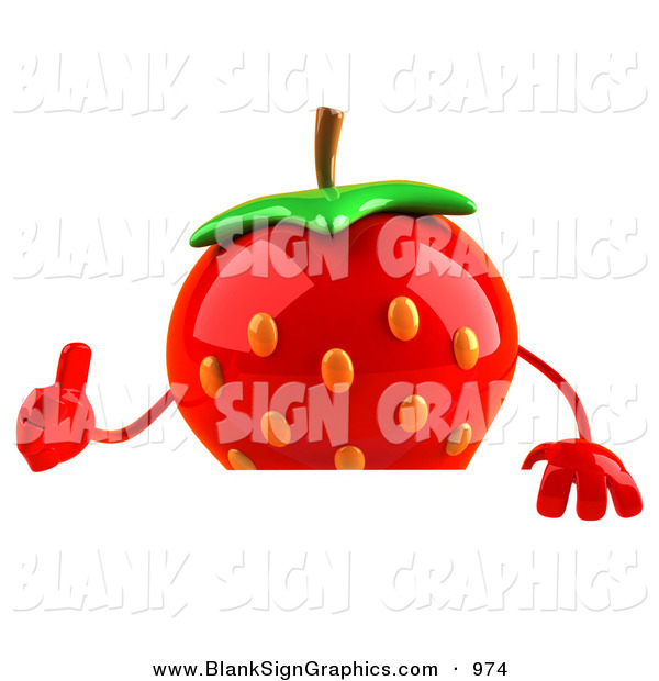 Vector Illustration of a Red 3d Strawberry Character Giving the Thumbs up and Standing Behind a Blank Sign