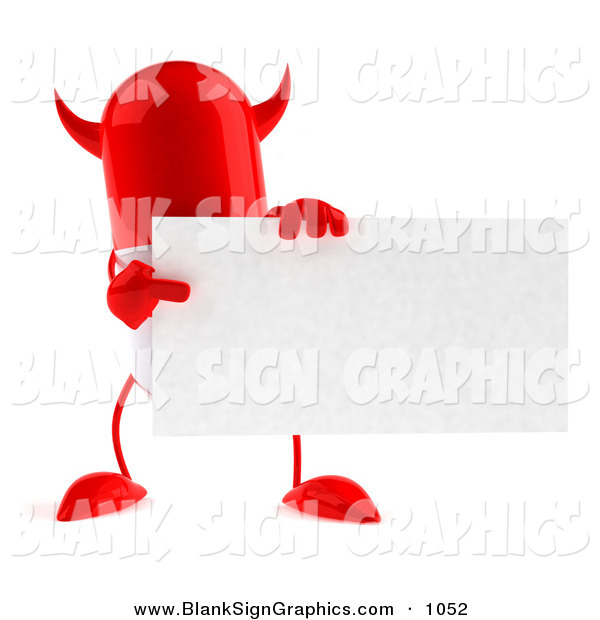 Vector Illustration of a Red Devil 3d Pill Character Holding a Blank Business Card on White