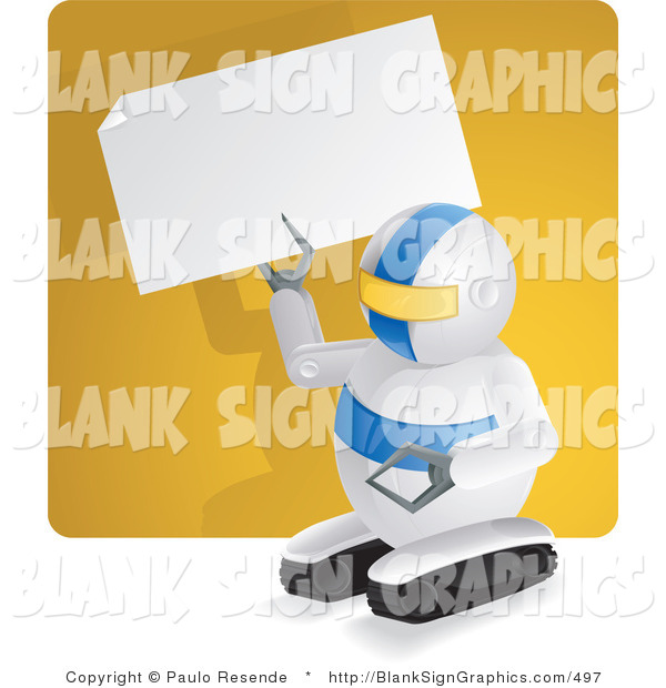 Vector Illustration of a Robot Holding up a Blank Sign