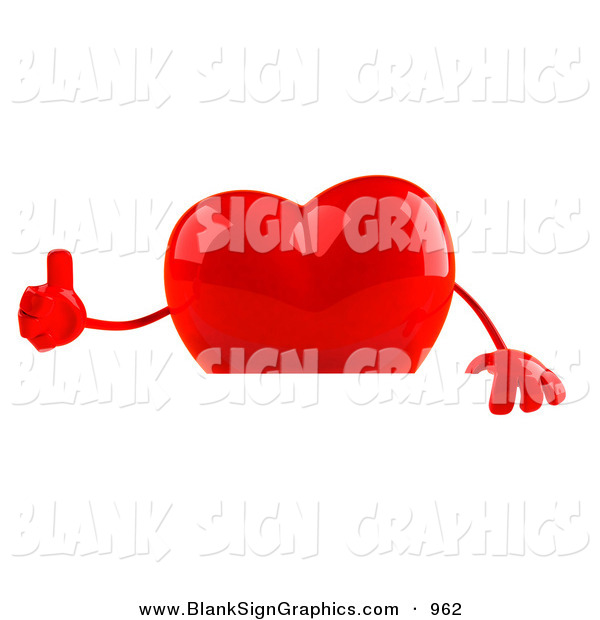 Vector Illustration of a Romantic 3d Shiny Red Heart Character Giving the Thumbs up and Standing Behind a Blank Sign