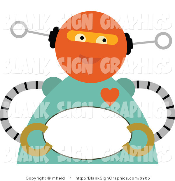 Vector Illustration of a Romantic Robot Holding a Blank Oval Sign