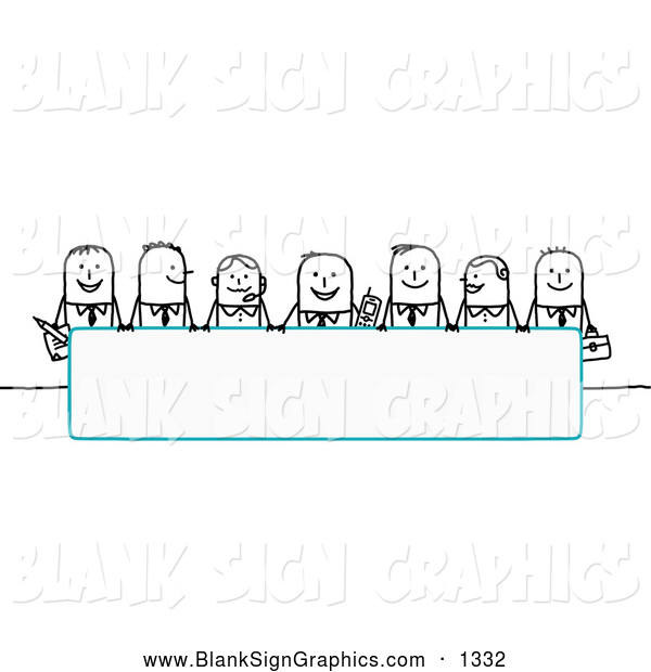 Vector Illustration of a Row of Stick People Characters Looking over a Blank Blue Sign