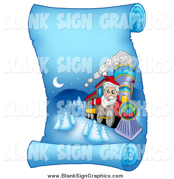 Vector Illustration of a Santa Christmas Train on a Frozen Blue Parchment Scroll Page