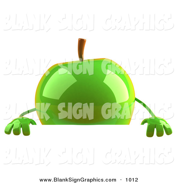 Vector Illustration of a Shiny 3d Green Apple Character Standing Behind a Blank Sign