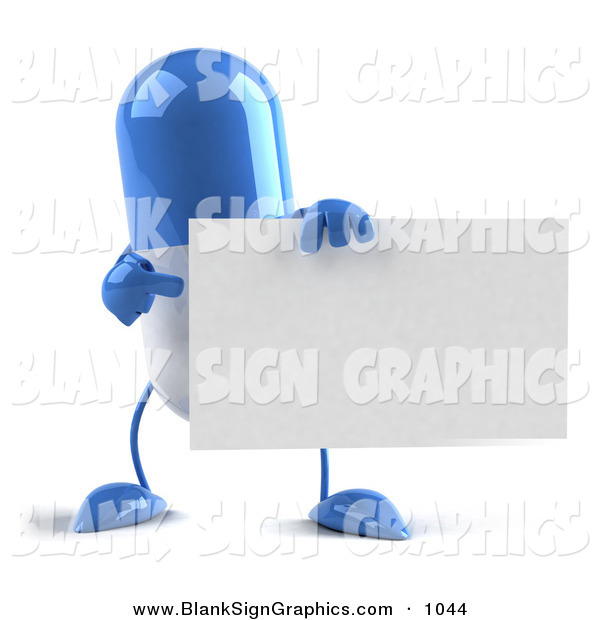 Vector Illustration of a Shiny Blue 3d Pill Character Holding a Blank Business Card