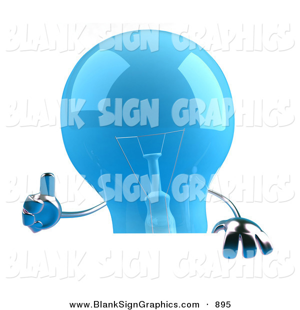 Vector Illustration of a Shiny Blue Glass Light Bulb Character Giving the Thumbs up and Holding a Blank Sign