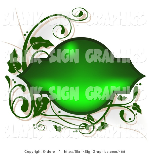 Vector Illustration of a Shiny Green Frame with Vines