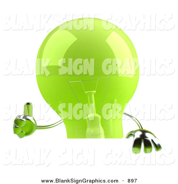 Vector Illustration of a Shiny Green Glass Light Bulb Character Giving the Thumbs up and Holding a Blank Sign