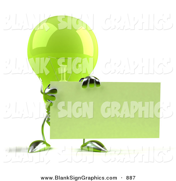 Vector Illustration of a Shiny Green Glass Light Bulb Character Holding up a Blank Business Card or Sign - Version 1