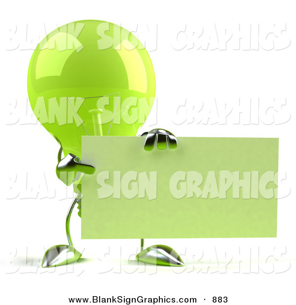 Vector Illustration of a Shiny Green Glass Light Bulb Character Holding up a Blank Business Card or Sign - Version 2