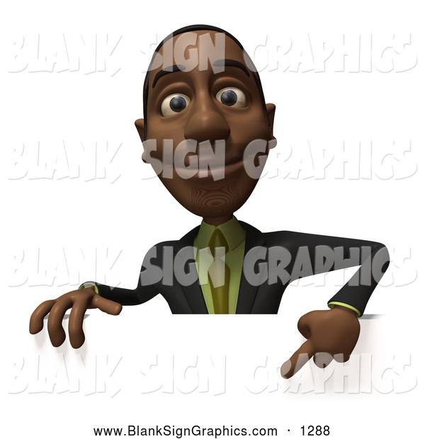 Vector Illustration of a Smiling 3d Black Businessman Character Pointing down and Standing Behind a Blank Sign