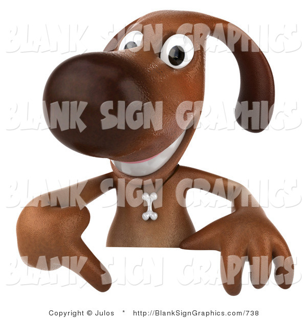Vector Illustration of a Smiling 3d Brown Dog Character Pointing down at and Standing Behind a Blank Sign