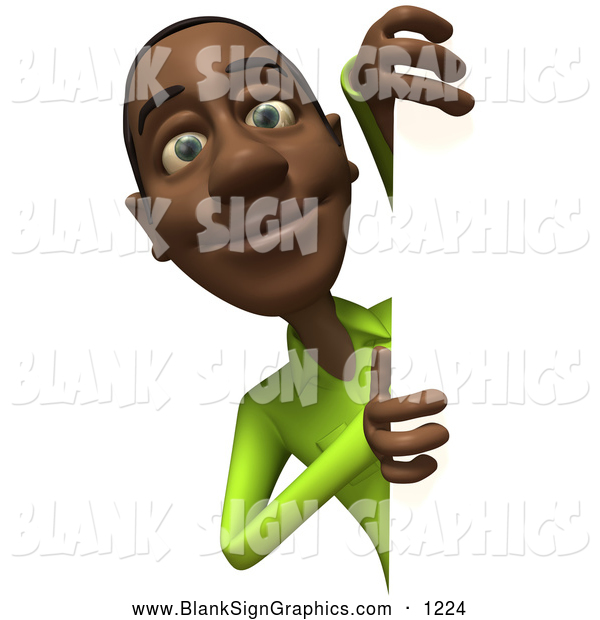 Vector Illustration of a Smiling 3d Casual Black Man Character Looking Around a Blank Sign
