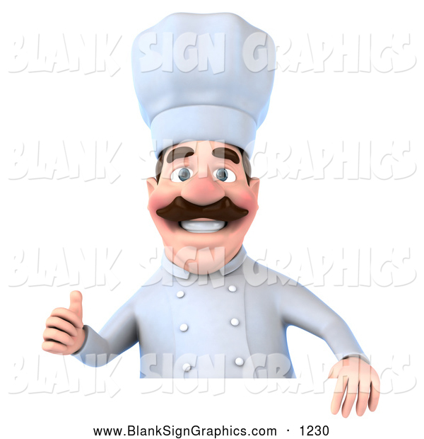 Vector Illustration of a Smiling 3d Chef George Character Giving the Thumbs up and Standing Behind a Blank Sign