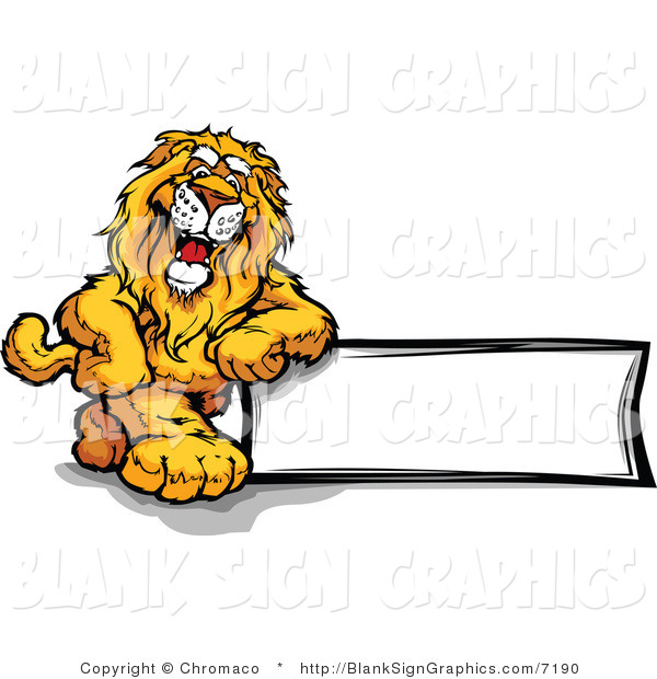 Vector Illustration of a Smiling Lion Leaning Against a Blank Sign