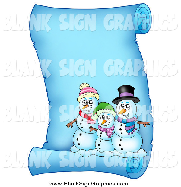 Vector Illustration of a Snowman Family on a Frozen Parchment Scroll Page