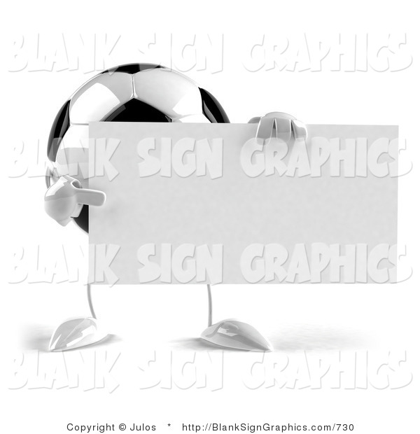 Vector Illustration of a Soccer Ball with Arms and Legs, Holding a Blank White Sign