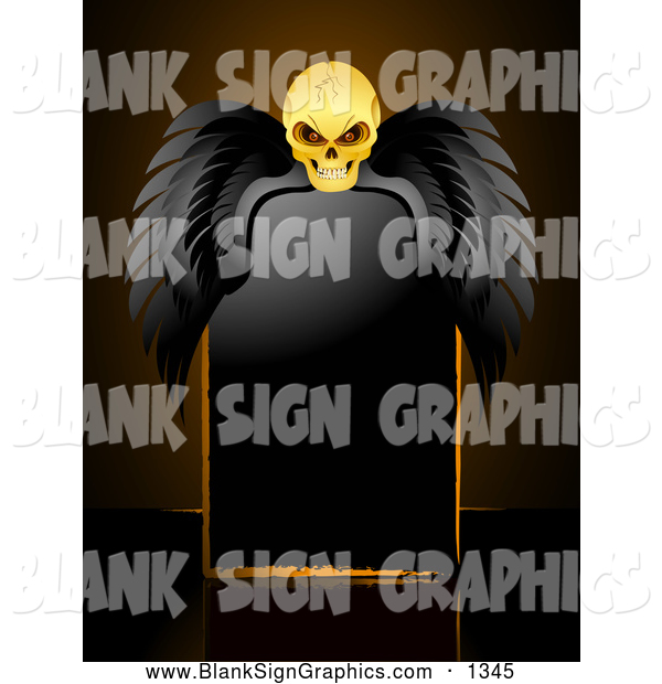 Vector Illustration of a Spooky Creepy Skull with Black Wings, Resting over a Blank Black Sign
