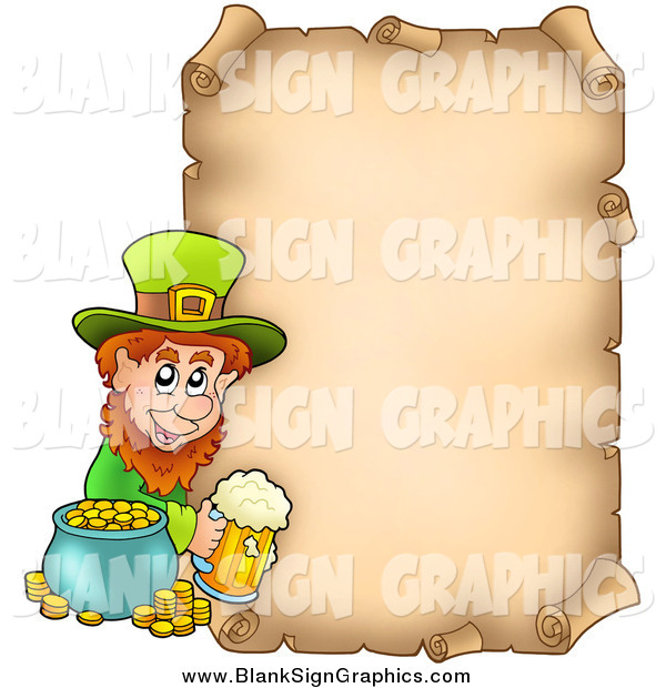 Vector Illustration of a St Patricks Day Parchment Page with a Leprechaun