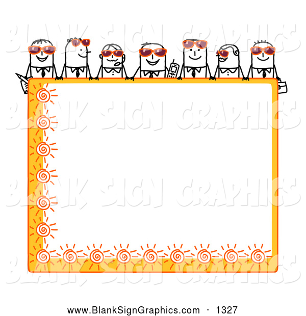 Vector Illustration of a Stick Figure People Characters Looking over a Blank Orange Summer Sign