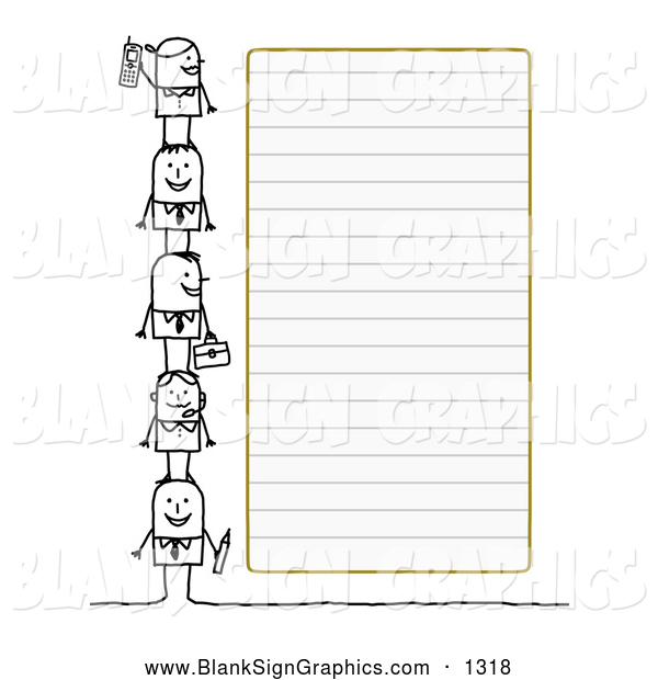 Vector Illustration of a Stick Figure People Characters Standing Beside Blank Lined Paper