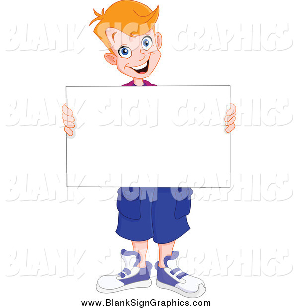 Vector Illustration of a Strawberry Blond Caucasian Boy Holding a Blank SignStrawberry Blond Caucasian Boy Holding a Blank Sign