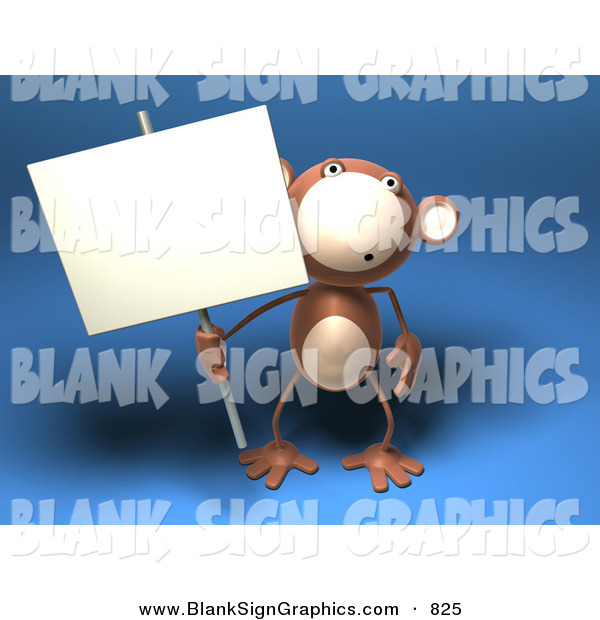 Vector Illustration of a Surprised Monkey Character Holding a Sign on a Post