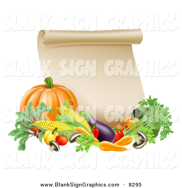 Vector Illustration of a Thanksgiving Scroll with Harvest Vegetables