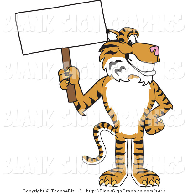 Vector Illustration of a Tiger Holding a Blank Sign