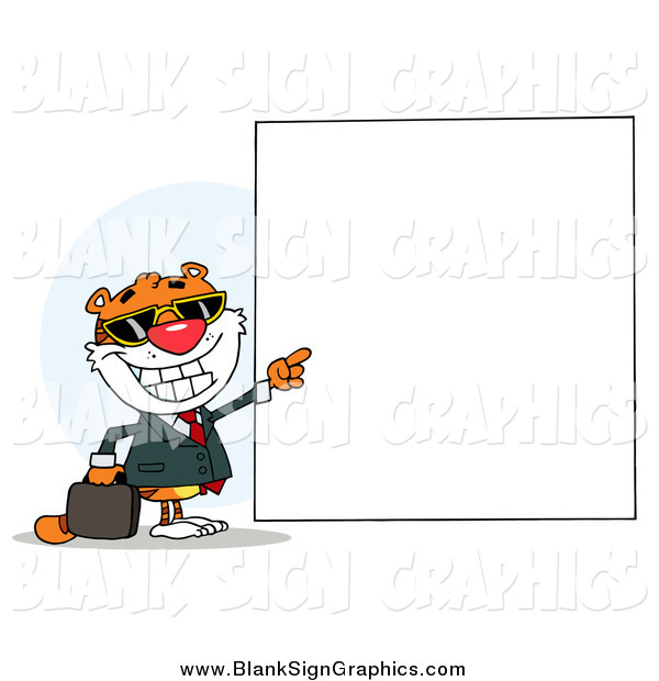 Vector Illustration of a Tiger Pointing to a Blank Sign
