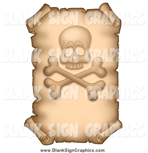Vector Illustration of a Vertical Parchment Page with a Skull and Crossbones