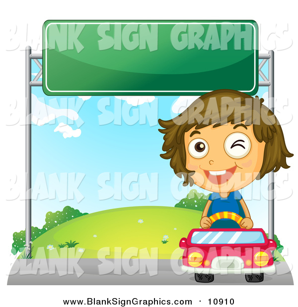 Vector Illustration of a Winking Happy Girl Driving a Red Car Under a Sign