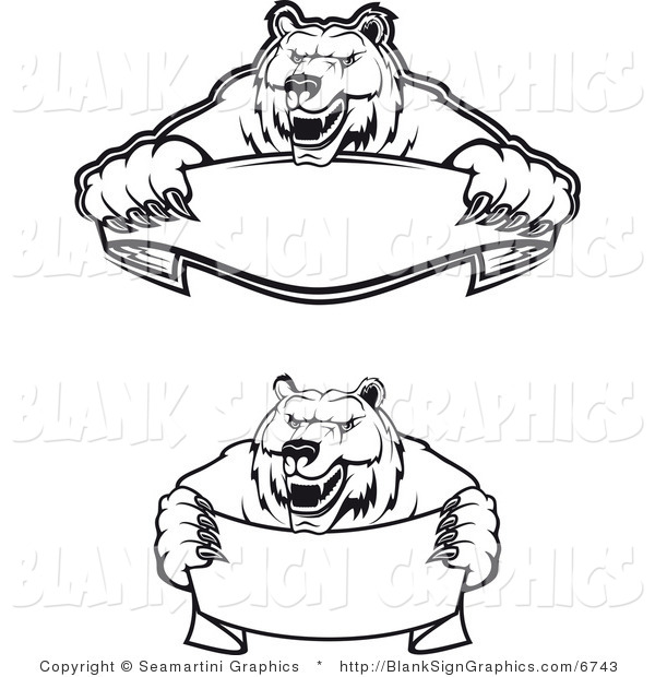 Vector Illustration of Aggressive Black and White Bear Banners