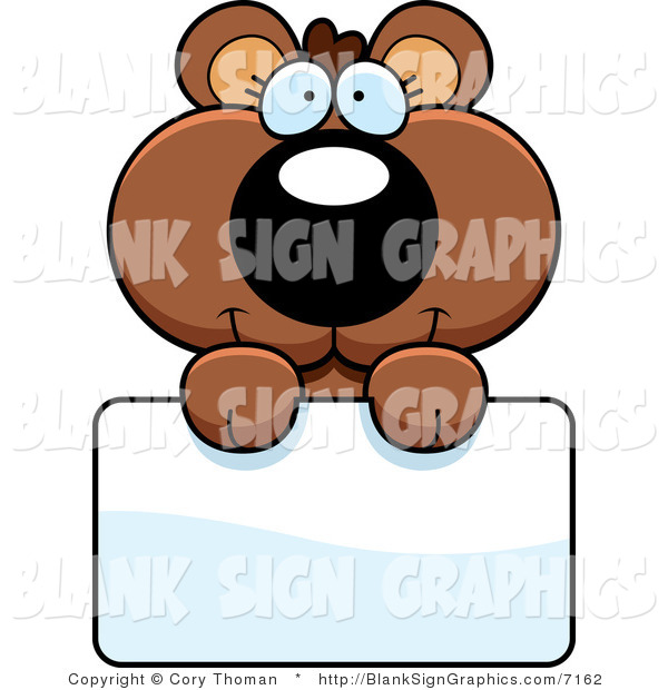 Vector Illustration of an Adorable Bear Cub Holding a Sign