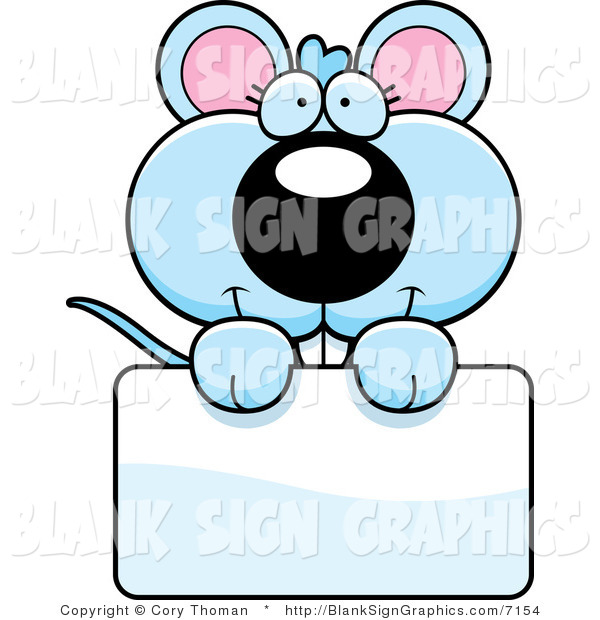 Vector Illustration of an Adorable Blue Mouse Holding a Blank Sign