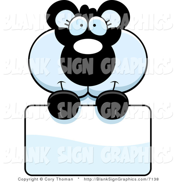 Vector Illustration of an Adorable Panda Holding a Blank Sign