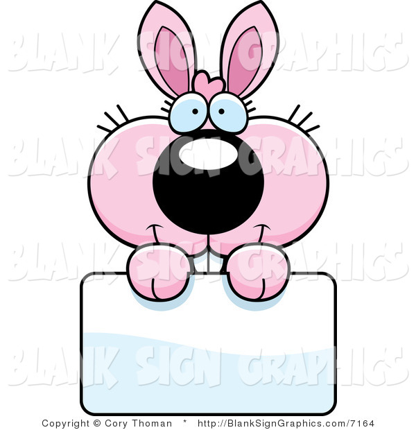 Vector Illustration of an Adorable Pink Bunny Holding a Blank Sign