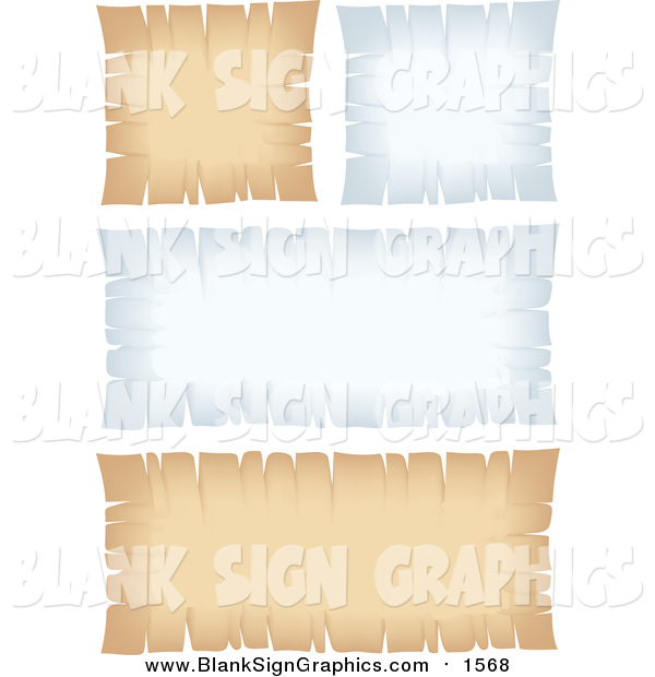 Vector Illustration of Blank White and Beige Parchment Signs with Torn Edges